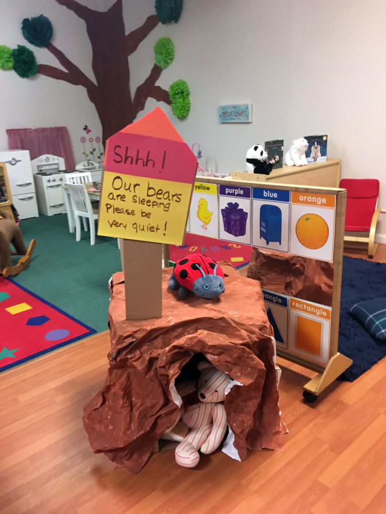Bear Cave Created by Children for Winter Hibernation Lesson